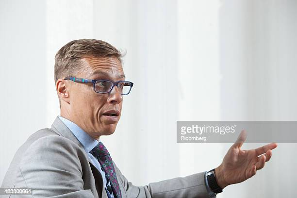Alexander Stubb Finland's finance minister gestures whilst speaking during an interview in Helsinki Finland on Thursday Aug 13 2015 Stubb said he's...