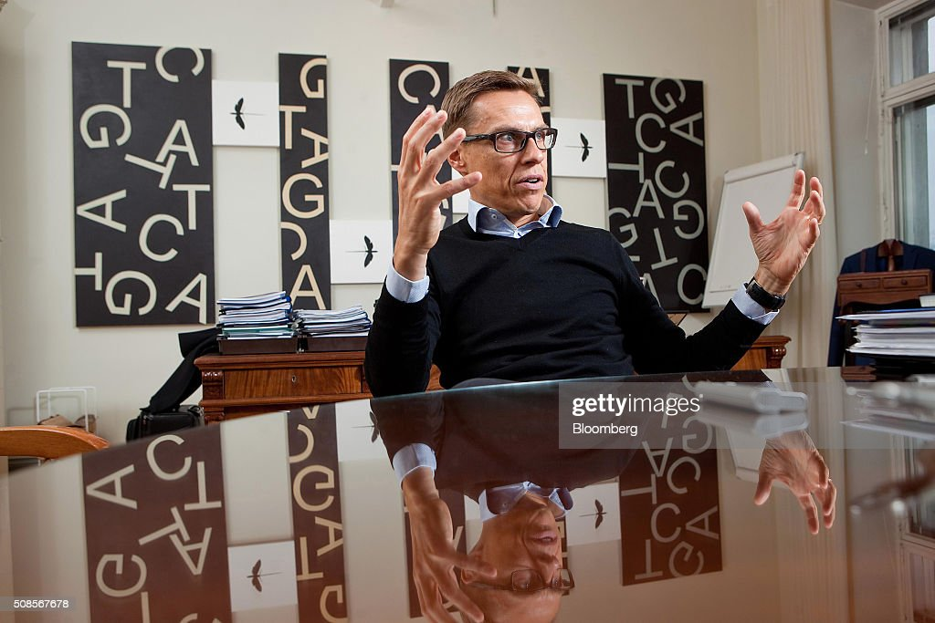 <a gi-track='captionPersonalityLinkClicked' href=/galleries/search?phrase=Alexander+Stubb&family=editorial&specificpeople=2157393 ng-click='$event.stopPropagation()'>Alexander Stubb</a>, Finland's finance minister, gestures whilst speaking during an interview in Helsinki, Finland, on Friday, Feb. 5, 2016. We should be looking for European solutions, not national solutions -- and by this I mean we need more integration, not less integration, Stubb said. Photographer: Henrik Kettunen/Bloomberg via Getty Images