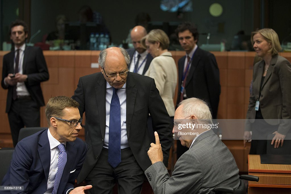 <a gi-track='captionPersonalityLinkClicked' href=/galleries/search?phrase=Alexander+Stubb&family=editorial&specificpeople=2157393 ng-click='$event.stopPropagation()'>Alexander Stubb</a>, Finland's finance minister, left, speaks with Wolfgang Schauble, Germany's finance minister, right, during a Eurogroup meeting of European finance ministers in Brussels, Belgium, on Tuesday, May 24, 2016. Five years after handing Greece the biggest sovereign-debt write-off in history, European policy makers have come full circle to the point they had all hoped to avoid: a real discussion on debt relief. Photographer: Jasper Juinen/Bloomberg via Getty Images