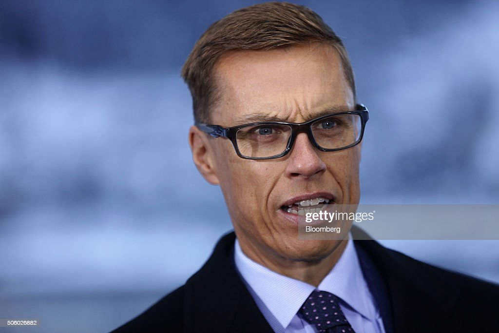 <a gi-track='captionPersonalityLinkClicked' href=/galleries/search?phrase=Alexander+Stubb&family=editorial&specificpeople=2157393 ng-click='$event.stopPropagation()'>Alexander Stubb</a>, Finland's finance minister, speaks during a Bloomberg Television interview at the World Economic Forum (WEF) in Davos, Switzerland, on Thursday, Jan. 21, 2016. World leaders, influential executives, bankers and policy makers attend the 46th annual meeting of the World Economic Forum in Davos from Jan. 20 - 23. Photographer: Simon Dawson/Bloomberg via Getty Images