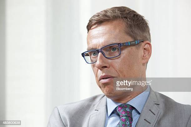 Alexander Stubb Finland's finance minister speaks during an interview in Helsinki Finland on Thursday Aug 13 2015 Stubb said he's confident that...