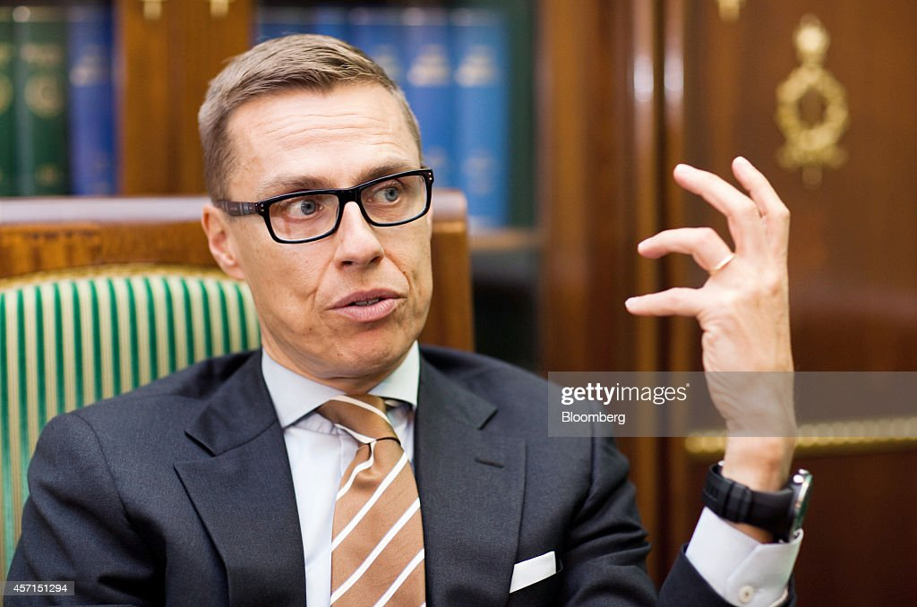 <a gi-track='captionPersonalityLinkClicked' href=/galleries/search?phrase=Alexander+Stubb&family=editorial&specificpeople=2157393 ng-click='$event.stopPropagation()'>Alexander Stubb</a>, Finland's prime minister, gestures as he speaks during an interview at the government palace in Helsinki, Finland, on Monday, Oct. 13, 2014. Stubb said it will take Finland as long as four years to turn around the ailing economy and regain its AAA credit rating. Photographer: Henrik Kettunen/Bloomberg via Getty Images
