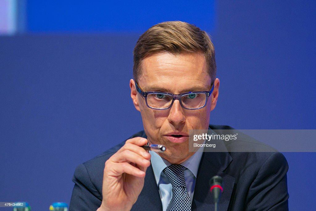 <a gi-track='captionPersonalityLinkClicked' href=/galleries/search?phrase=Alexander+Stubb&family=editorial&specificpeople=2157393 ng-click='$event.stopPropagation()'>Alexander Stubb</a>, Finland's prime minister, gestures as he speaks during the Wirtschaftsrat conference in Berlin, Germany, on Tuesday, June 9, 2015. European integration must be furthered to boost global stability, German Finance Minister Wolfgang Schaeuble said today in Berlin. Photographer: Krisztian Bocsi/Bloomberg via Getty Images