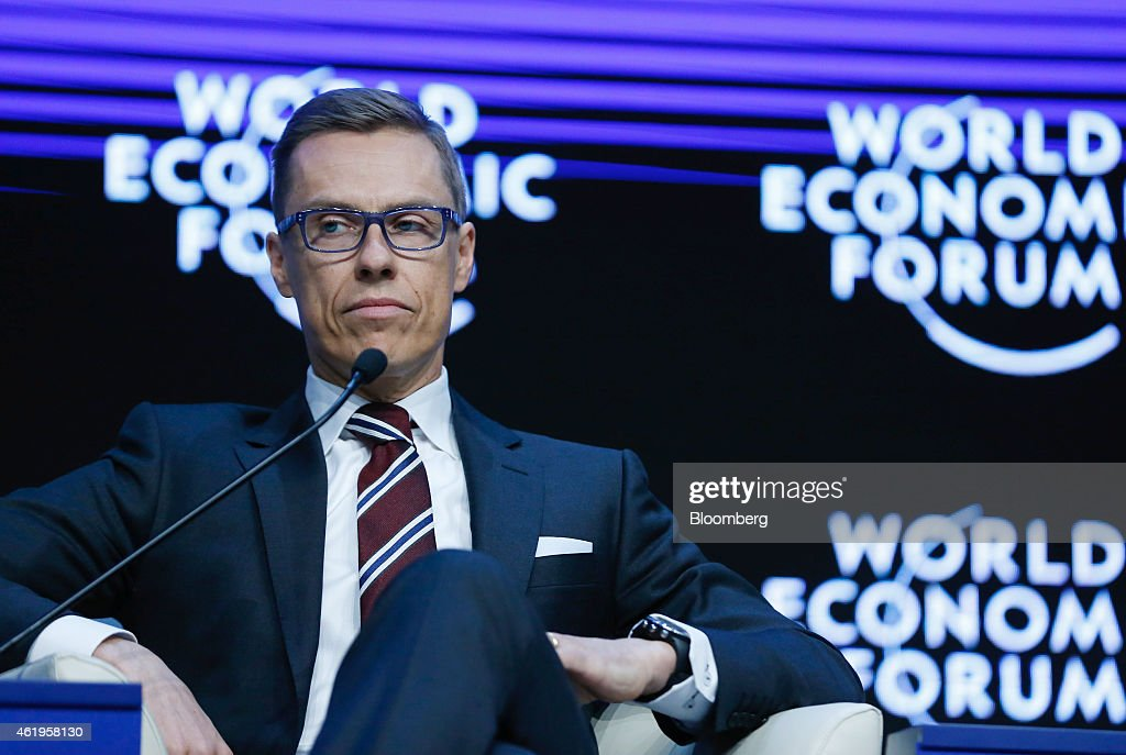 <a gi-track='captionPersonalityLinkClicked' href=/galleries/search?phrase=Alexander+Stubb&family=editorial&specificpeople=2157393 ng-click='$event.stopPropagation()'>Alexander Stubb</a>, Finland's prime minister, pauses during a session on day two of the World Economic Forum (WEF) in Davos, Switzerland, on Thursday, Jan. 22, 2015. World leaders, influential executives, bankers and policy makers attend the 45th annual meeting of the World Economic Forum in Davos from Jan. 21-24. Photographer: Jason Alden/Bloomberg via Getty Images