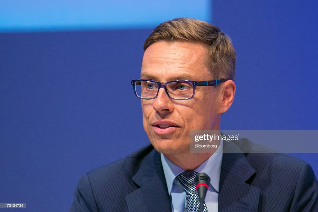 <a gi-track='captionPersonalityLinkClicked' href=/galleries/search?phrase=Alexander+Stubb&family=editorial&specificpeople=2157393 ng-click='$event.stopPropagation()'>Alexander Stubb</a>, Finland's prime minister, speaks during the Wirtschaftsrat conference in Berlin, Germany, on Tuesday, June 9, 2015. European integration must be furthered to boost global stability, German Finance Minister Wolfgang Schaeuble said today in Berlin. Photographer: Krisztian Bocsi/Bloomberg via Getty Images