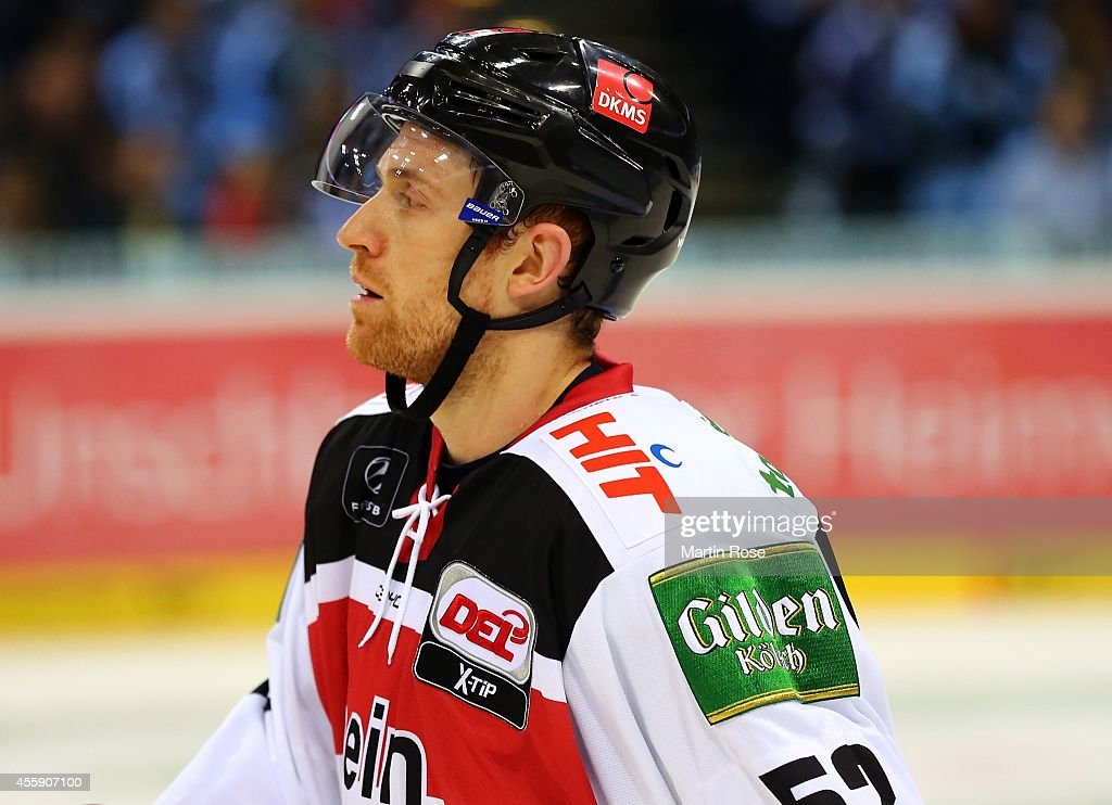 <a gi-track='captionPersonalityLinkClicked' href=/galleries/search?phrase=Alexander+Sulzer&family=editorial&specificpeople=673531 ng-click='$event.stopPropagation()'>Alexander Sulzer</a> of Koelner Haie reacts during the DEL game between Hamburg Freezers and Koelner Haie at O2 World on September 21, 2014 in Hamburg, Germany.