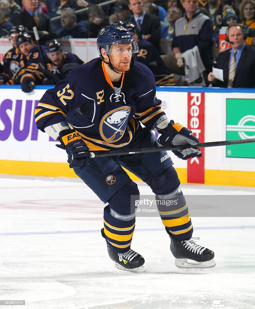 Alexander Sulzer #52 of the Buffalo Sabres skates against the Boston Bruins on February 10, 2013 at the First Niagara Center in Buffalo, New York.