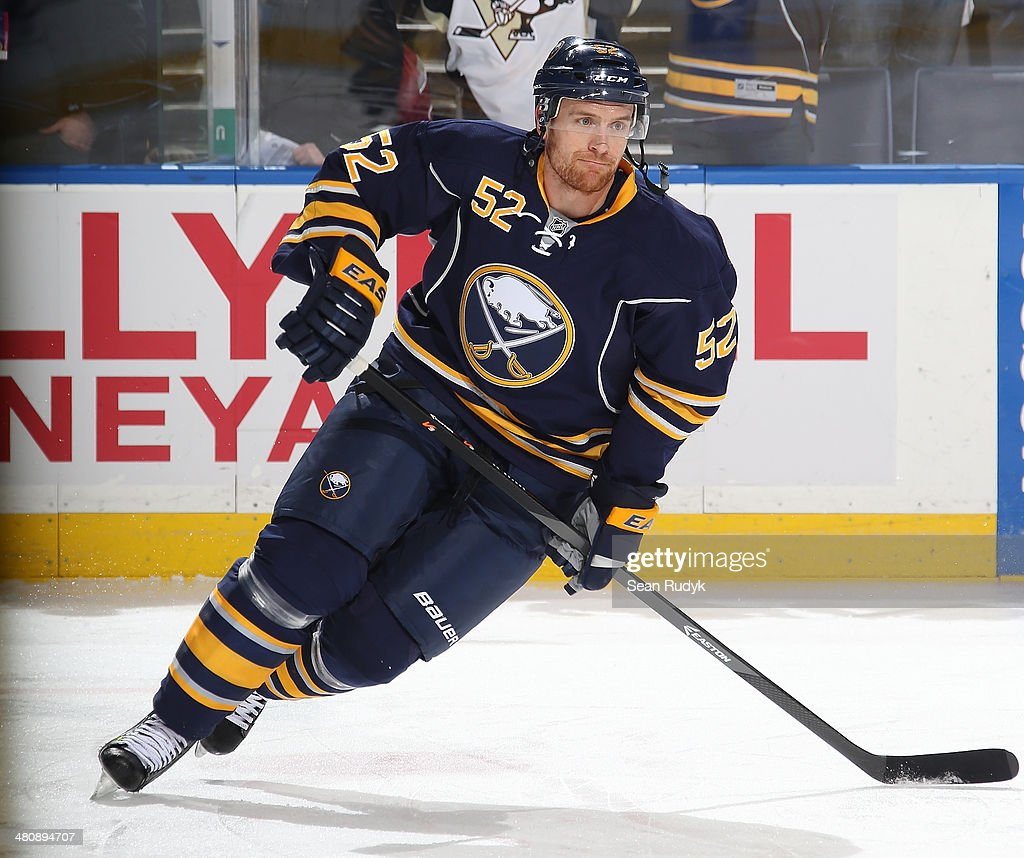<a gi-track='captionPersonalityLinkClicked' href=/galleries/search?phrase=Alexander+Sulzer&family=editorial&specificpeople=673531 ng-click='$event.stopPropagation()'>Alexander Sulzer</a> #52 of the Buffalo Sabres skates against the Pittsburgh Penguins at First Niagara Center on February 5, 2014 in Buffalo, New York.