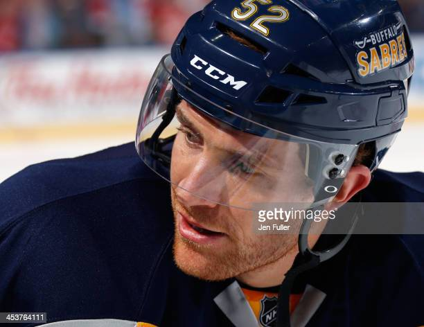 Alexander Sulzer of the Buffalo Sabres warms up to play the Detroit Red Wings at First Niagara Center on November 24 2013 in Buffalo New York
