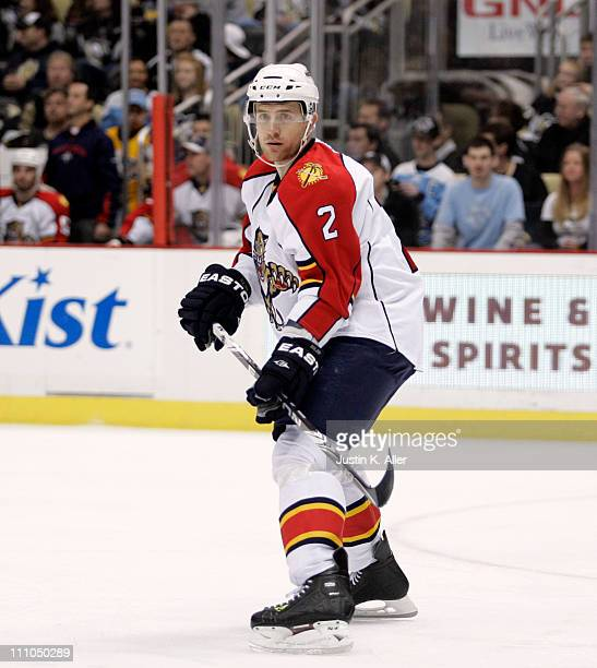 Alexander Sulzer of the Florida Panthers skates against the Pittsburgh Penguins at Consol Energy Center on March 27 2011 in Pittsburgh Pennsylvania...
