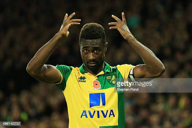 Alexander Tettey of Norwich City gestures during the Barclays Premier League match between Norwich City and Swansea City at Carrow Road on November 7...