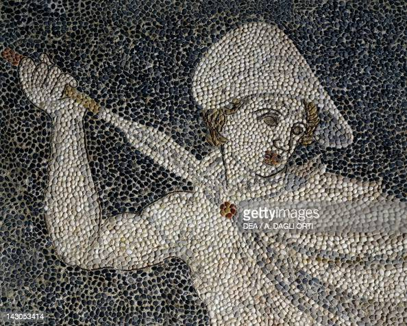Alexander the Great and Hephaestion during a lion hunt ca 320 BC mosaic from the peristyle house 1 Room C Pella Greece Detail showing Alexander 4th...