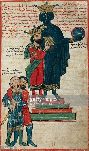 Alexander the Great and the Statue of Nactanebo miniature from the The History of Alexander the Great by PseudoCallisthenes Parchment Codex by the...