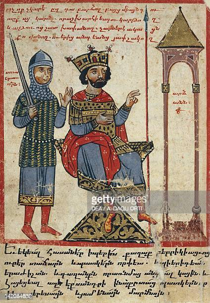 Alexander the Great on the throne miniature from the The History of Alexander the Great by PseudoCallisthenes Parchment Codex by the scribe Nerses...
