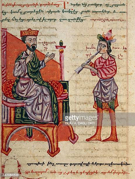 Alexander the Great on the throne miniature from the The History of Alexander the Great by PseudoCallisthenes Greek manuscript 14th Century