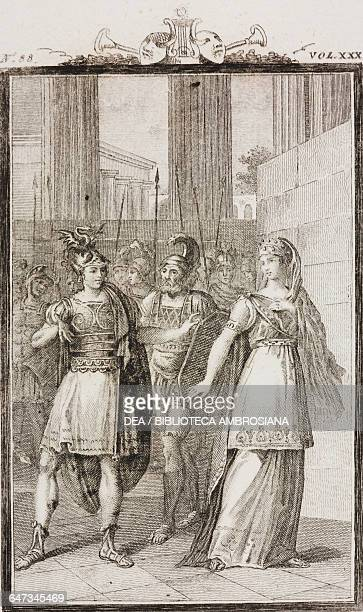 Alexander the Great with Hephaistion and Statira engraving by Antonio Viviani from a drawing by G Steneri from The Loves of Alexander the Great Act I...