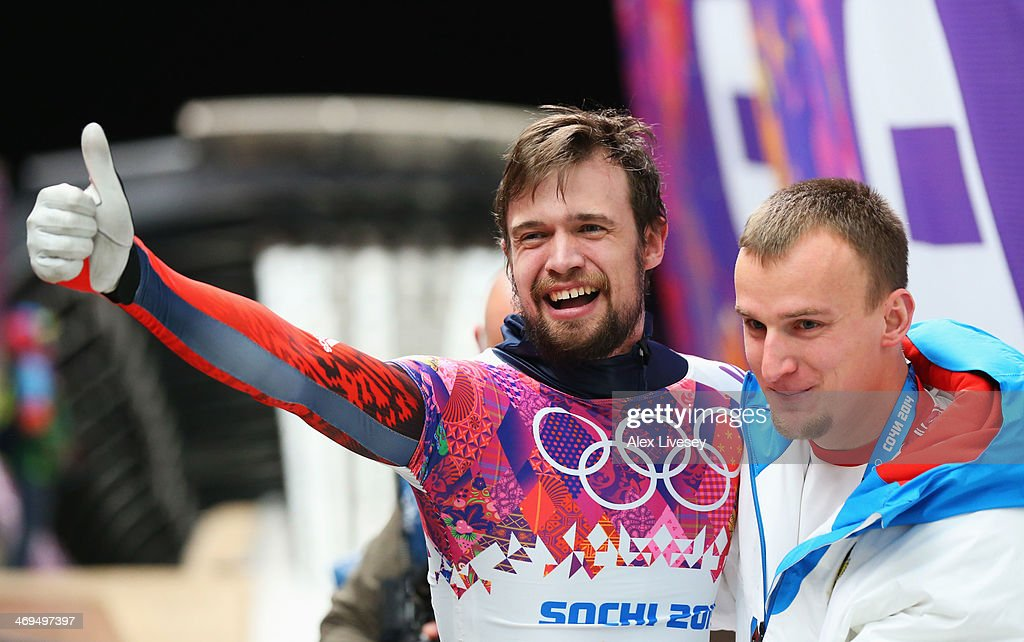 <a gi-track='captionPersonalityLinkClicked' href=/galleries/search?phrase=Alexander+Tretiakov&family=editorial&specificpeople=723551 ng-click='$event.stopPropagation()'>Alexander Tretiakov</a> of Russia celebrates winning gold after his run during the Men's Skeleton on Day 8 of the Sochi 2014 Winter Olympics at Sliding Center Sanki on February 15, 2014 in Sochi, Russia.