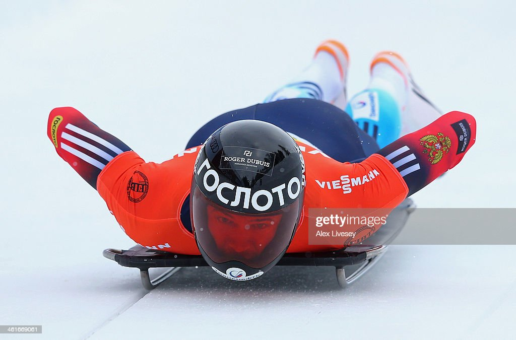 <a gi-track='captionPersonalityLinkClicked' href=/galleries/search?phrase=Alexander+Tretiakov&family=editorial&specificpeople=723551 ng-click='$event.stopPropagation()'>Alexander Tretiakov</a> of Russia competes during heat one of the Men's Skeleton at the Viessmann FIBT Bob & Skeleton World Cup at the Olympia Bob Run on January 10, 2014 in St Moritz, Switzerland.