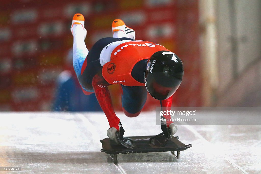 <a gi-track='captionPersonalityLinkClicked' href=/galleries/search?phrase=Alexander+Tretiakov&family=editorial&specificpeople=723551 ng-click='$event.stopPropagation()'>Alexander Tretiakov</a> of Russia competes during the Viessmann FIBT Skeleton World Cup at Deutche Post Eisarena on January 17, 2015 in Koenigssee, Germany.