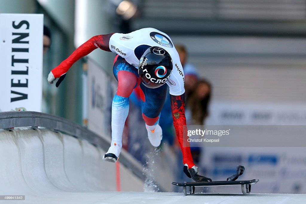 <a gi-track='captionPersonalityLinkClicked' href=/galleries/search?phrase=Alexander+Tretiakov&family=editorial&specificpeople=723551 ng-click='$event.stopPropagation()'>Alexander Tretiakov</a> of Russia competes in his first run of the men's skeleton competition during the BMW IBSF Bob & Skeleton Worldcup at Veltins Eis-Arena on December 4, 2015 in Winterberg, Germany.