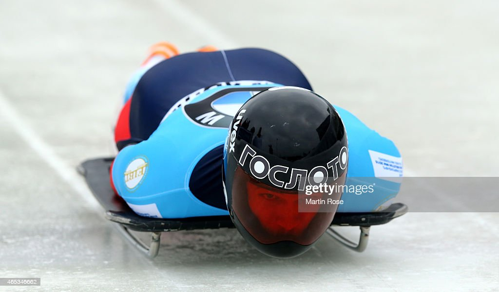 <a gi-track='captionPersonalityLinkClicked' href=/galleries/search?phrase=Alexander+Tretiakov&family=editorial&specificpeople=723551 ng-click='$event.stopPropagation()'>Alexander Tretiakov</a> of Russia competes in his third run of the men's skeleton competition during the FIBT Bob & Skeleton World Cup at Bobbahn Winterberg on March 6, 2015 in Winterberg, Germany.