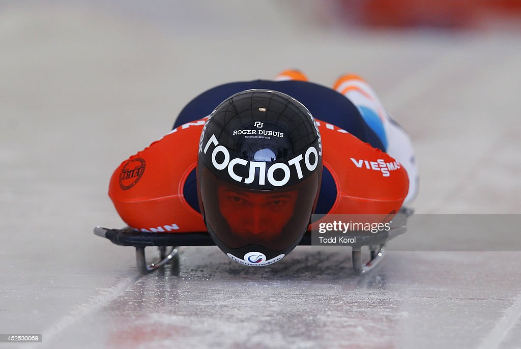 <a gi-track='captionPersonalityLinkClicked' href=/galleries/search?phrase=Alexander+Tretiakov&family=editorial&specificpeople=723551 ng-click='$event.stopPropagation()'>Alexander Tretiakov</a> of Russia competes in the men's skeleton race during the 2013 IBSF World Cup race November 29, 2013 in Calgary, Alberta, Canada.
