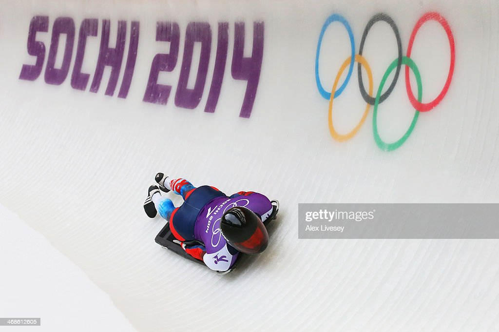 <a gi-track='captionPersonalityLinkClicked' href=/galleries/search?phrase=Alexander+Tretiakov&family=editorial&specificpeople=723551 ng-click='$event.stopPropagation()'>Alexander Tretiakov</a> of Russia makes a run during a Men's Skeleton training session on Day 4 of the Sochi 2014 Winter Olympics at the Sanki Sliding Center on February 11, 2014 in Sochi, Russia.