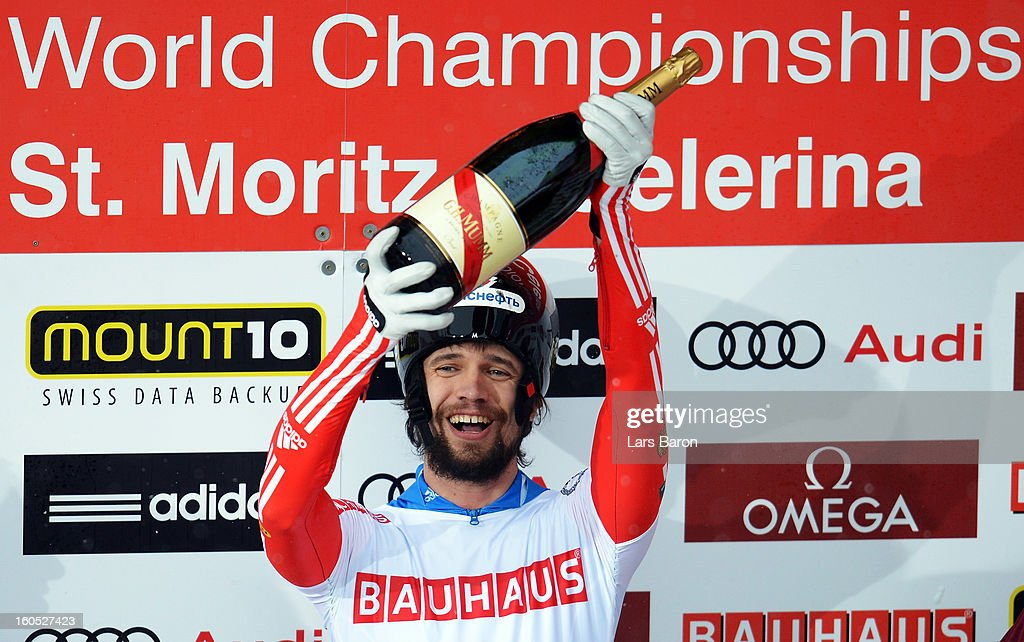 Alexander Tretjyakov of Russia celebrates after winning the man's skeleton final heat of the IBSF Bob & Skeleton World Championship at Olympia Bob Run on February 2, 2013 in St Moritz, Switzerland.