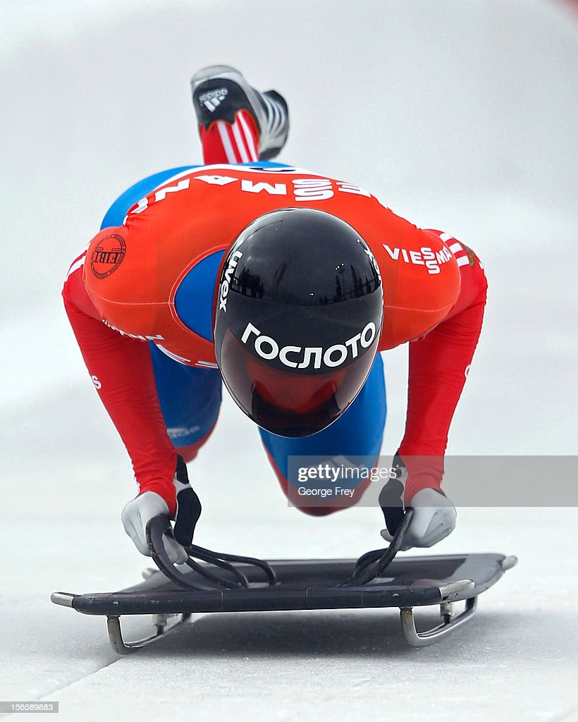 Alexander Tretjyakov of Russia finishes third in the FIBT men's skeleton world cup heat 1, on November 17, 2012 at Utah Olympic Park in Park City, Utah.