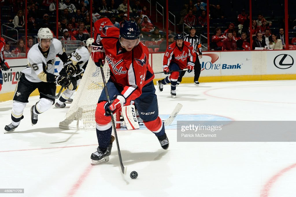 <a gi-track='captionPersonalityLinkClicked' href=/galleries/search?phrase=Alexander+Urbom&family=editorial&specificpeople=6254340 ng-click='$event.stopPropagation()'>Alexander Urbom</a> #34 of the Washington Capitals controls the puck in the third period against the Pittsburgh Penguins during an NHL game at Verizon Center on November 20, 2013 in Washington, DC.
