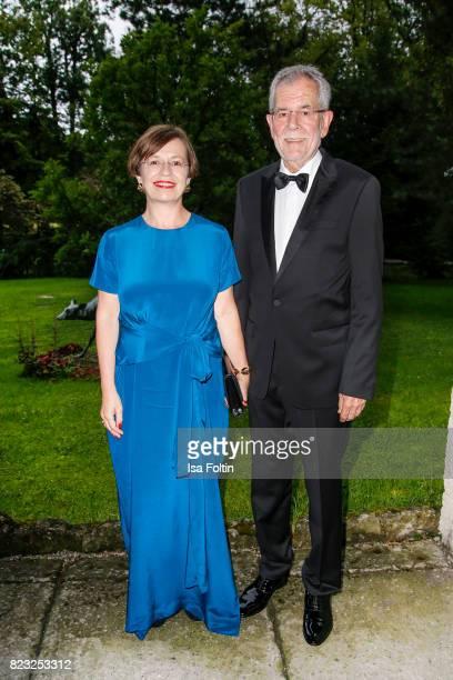 Alexander van der Bellen president of Austria and his wife Doris Schmidauer during the International Salzburg Association Gala on July 26 2017 in...