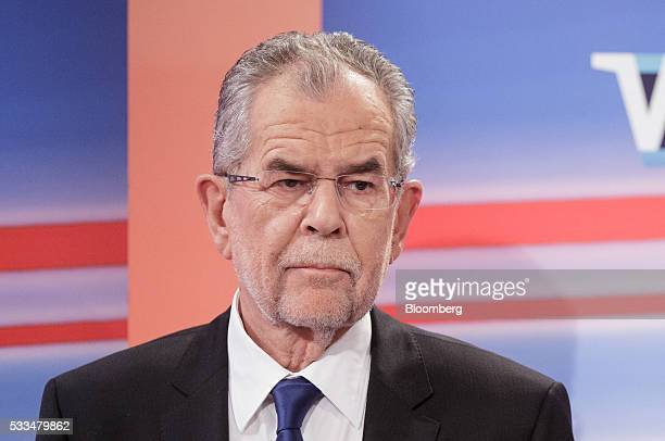 Alexander Van der Bellen presidential candidate of Austria's Green Party listens during a television interview in Vienna Austria on Sunday May 22...
