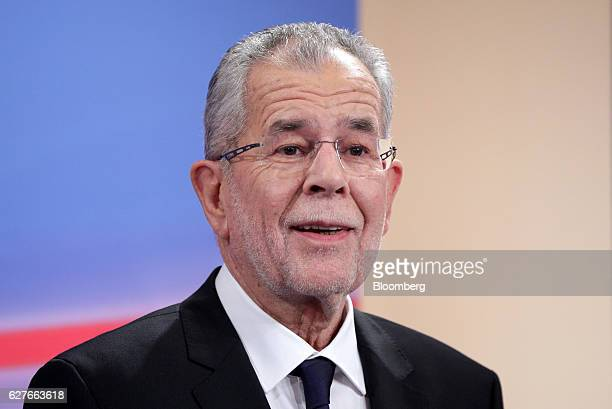 Alexander Van der Bellen presidential candidate of Austria's Green Party smiles after a TV debate in Vienna Austria on Sunday Dec 4 2016 A Green...