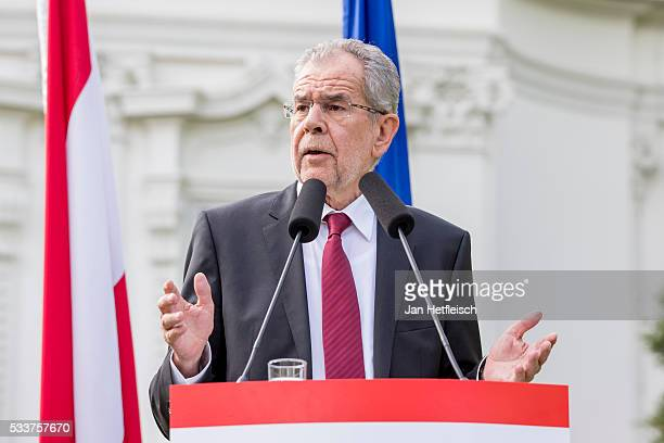 Alexander Van der Bellen presidential candidate of the Austrian Green Party makes a statement to the media after winning the presidential runoff on...