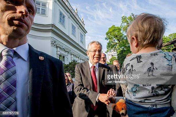 Alexander Van der Bellen presidential candidate of the Austrian Green Party wins the presidential runoff on May 23 2016 in Vienna Austria The...