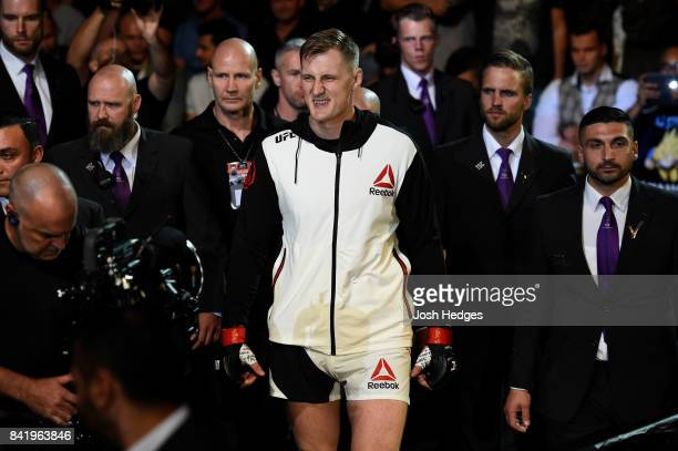 Alexander Volkov of Russia enters the arena prior to facing Stefan Struve of The Netherlands in their heavyweight bout during the UFC Fight Night...