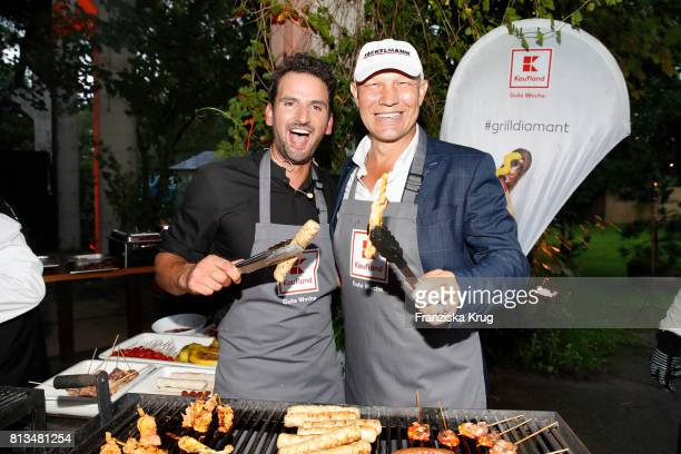 Alexander Wahi and Axel Schulz attend the Kaufland Hosts VIP BBQ at OberhafenKantine on July 12 2017 in Berlin Germany