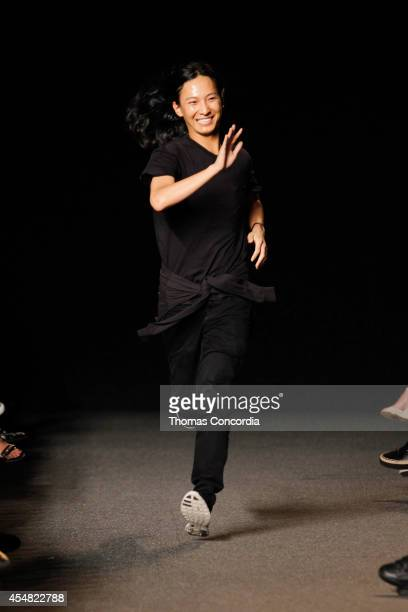 Alexander Wang runs down the runway after presenting the Alexander Wang Spring 2015 collection during MercedesBenz Fashion Week Spring 2015>> at Pier...