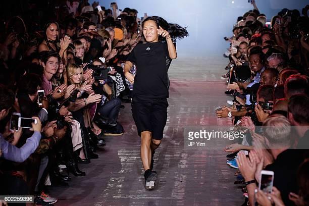 Alexander Wang runs down the runway at the conclusion of his Alexander Wang Spring 2017 fashion show during New York Fashion Week September 2016 at...