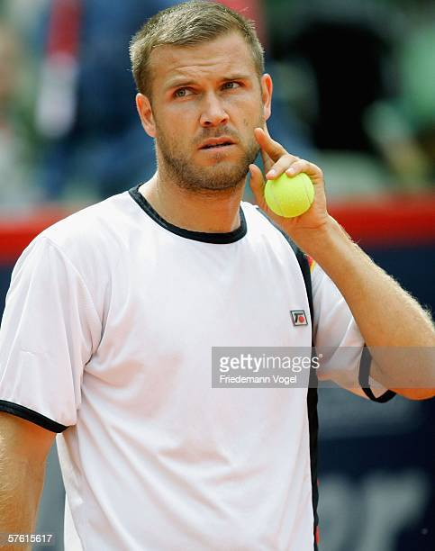 Alexander Waske of Germany looks dejected during his match against Mario Ancic of Croatia during Day one of the Tennis Masters Series Hamburg at...