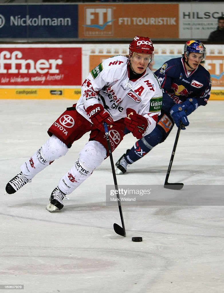 <a gi-track='captionPersonalityLinkClicked' href=/galleries/search?phrase=Alexander+Weiss&family=editorial&specificpeople=2279179 ng-click='$event.stopPropagation()'>Alexander Weiss</a> of Koelner Haie in action during the DEL match between EHC Muenchen and Koelner Haie at Olympia Eishalle on February 3, 2013 in Munich, Germany.