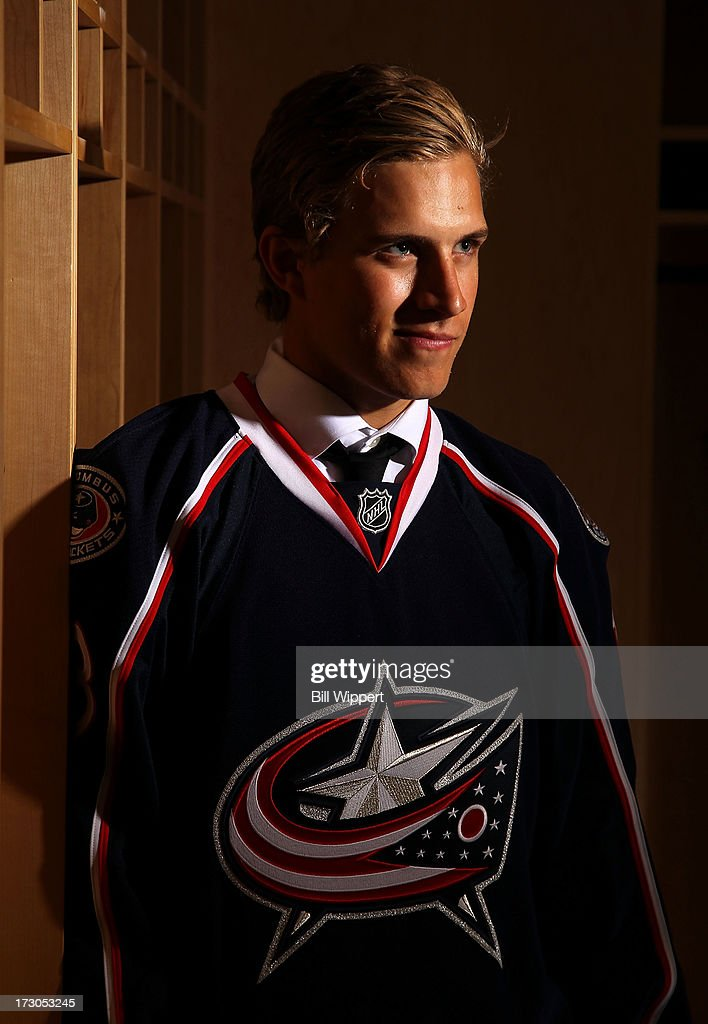 Alexander Wennberg, 14th pick overall by the Columbus Blue Jackets, poses for a portrait during the 2013 NHL Draft at Prudential Center on June 30, 2013 in Newark, New Jersey.