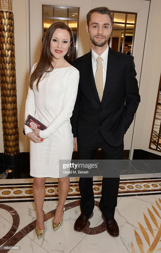 Alexander Whitley (R) and Nouska Hanly attend a drinks reception at the South Bank Sky Arts awards at the Dorchester Hotel on January 27, 2014 in London, England.