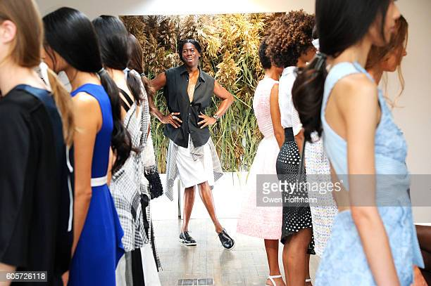 J Alexander with models before the Kimora Lee Simmons SS17 Fashion Show and Presentation at 43 West 24th St 9th Floor on September 14 2016 in New...
