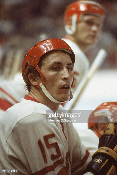 Alexander Yakushev of the Soviet Union looks on from the bench during Game 1 of the 1972 Summit Series against Canada on September 2 1972 at the...