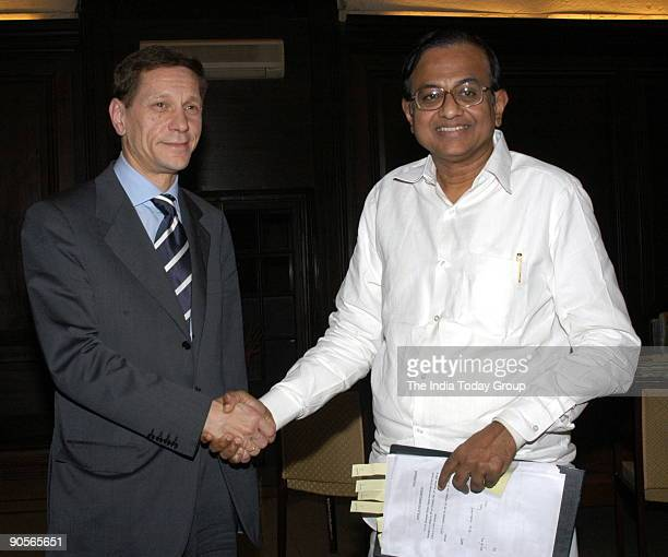 Alexander Zhukov Deputy Prime Minister of Russia shakes hand with P Chidambaram Union Cabinet Minister of finance in New Delhi India