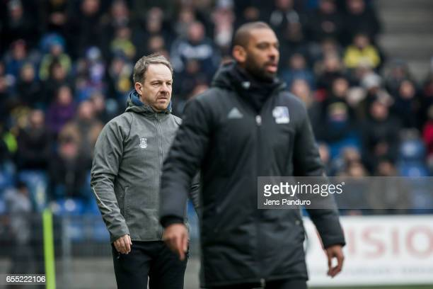 Alexander Zorniger head coach of Brondby IF and David Nielsen head coach of Lyngby BK the Danish Alka Superliga match between Brondby IF and Lyngby...