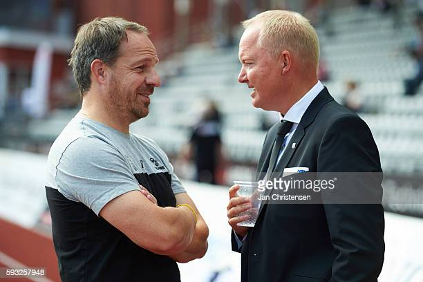 Alexander Zorniger head coach of Brondby IF and Glen Riddersholm head coach of AGF Arhus prior to the Danish Alka Superliga match between AGF Arhus...