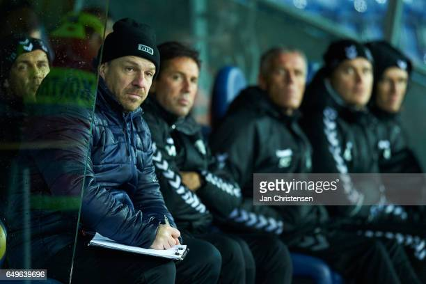 Alexander Zorniger head coach of Brondby IF and his staff looks on during the Danish Cup DBU Pokalen match between BK Marienlyst and Brondby IF at...