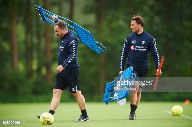 Alexander Zorniger head coach of Brondby IF and Matthias Jaissle assistant coach of Brondby IF in action during the Brondby IF training session at...